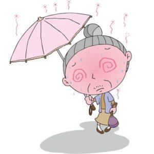 杖が必要な高齢者の外出時熱中症対策に日傘が付けられる杖を提案