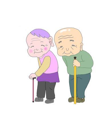 杖をつく高齢者